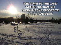 sun burn and frost bite